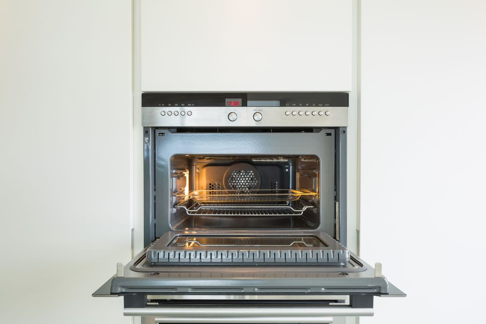 convection oven with door open