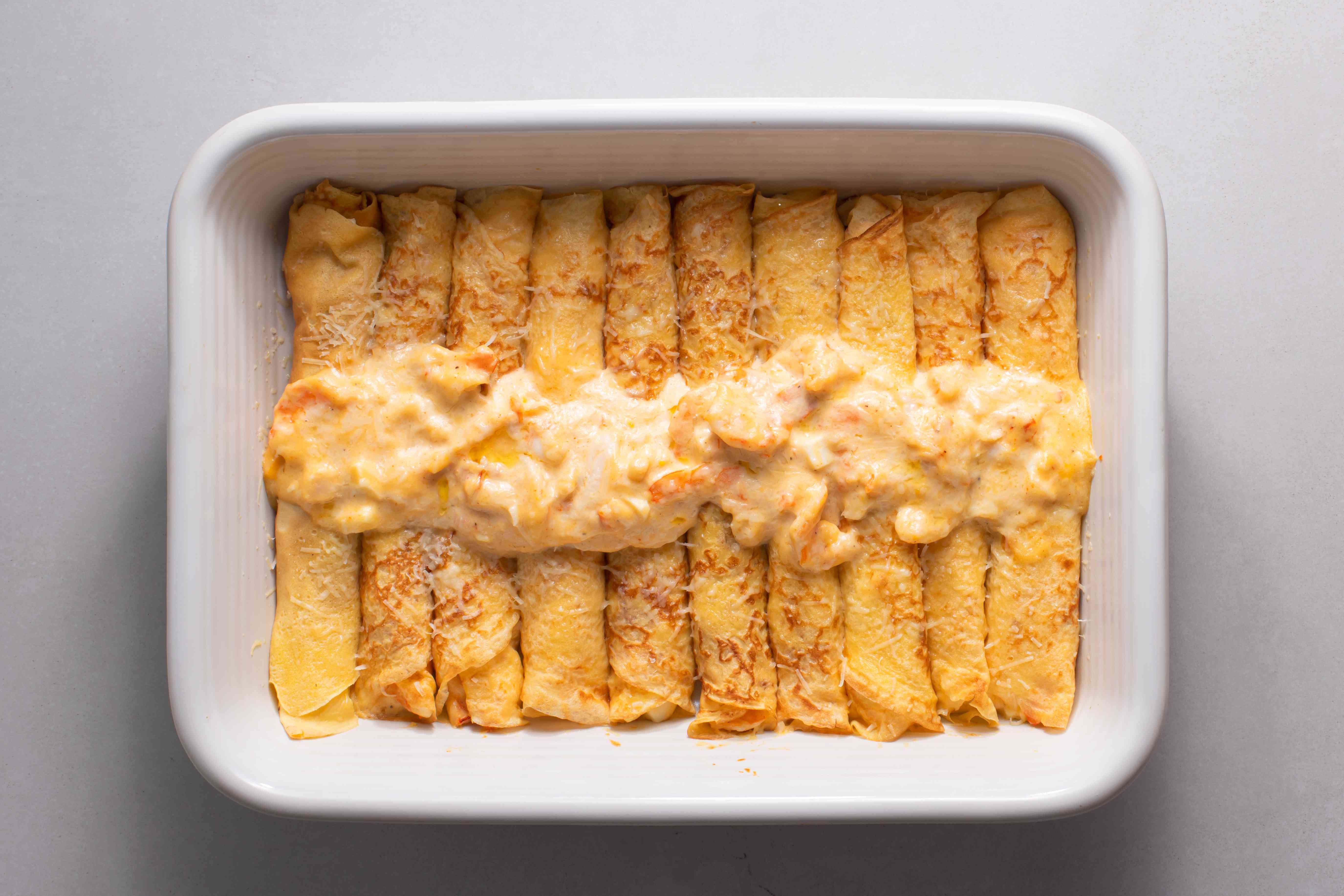 Seafood Crepes With Shrimp & Lobster in a baking dish