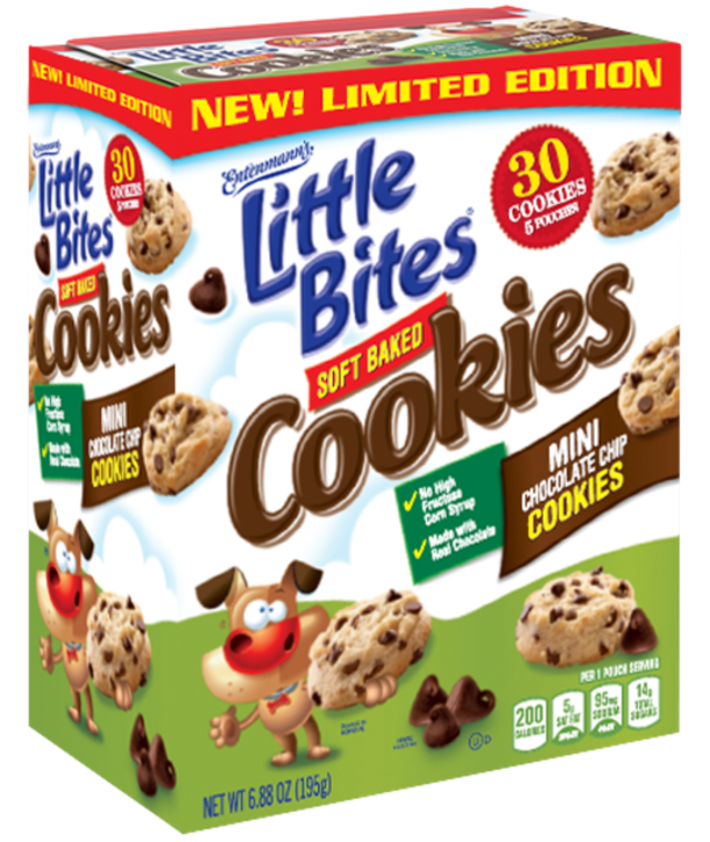 box of Entenmann's Little Bites Soft Baked Mini Chocolate Chip Cookies