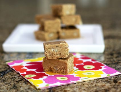 Brown sugar fudge squares in two servings