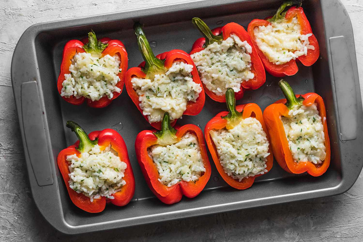 rice and cheese filling inside the bell pepper
