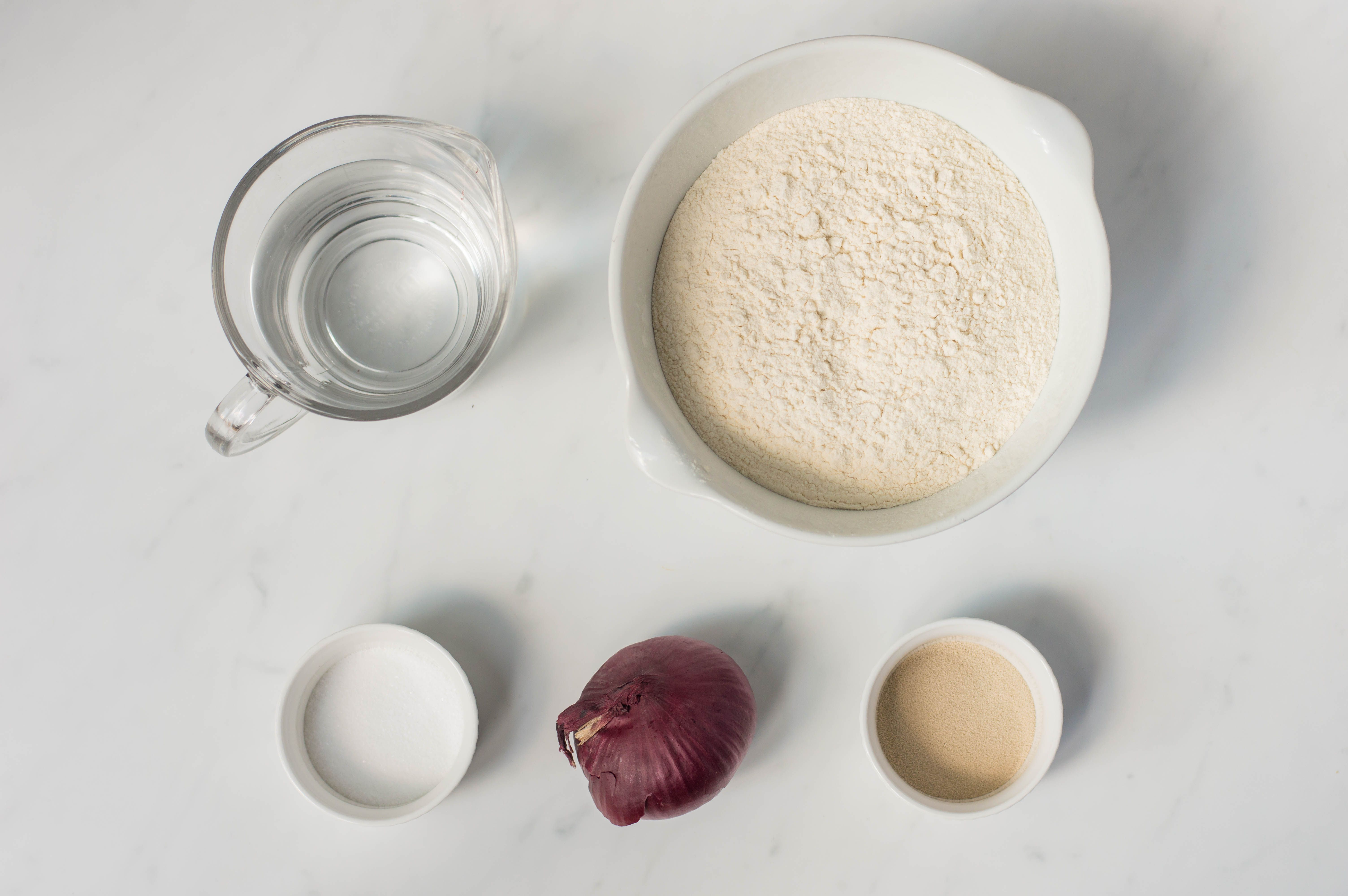 Ingredients for fougasse bread recipe