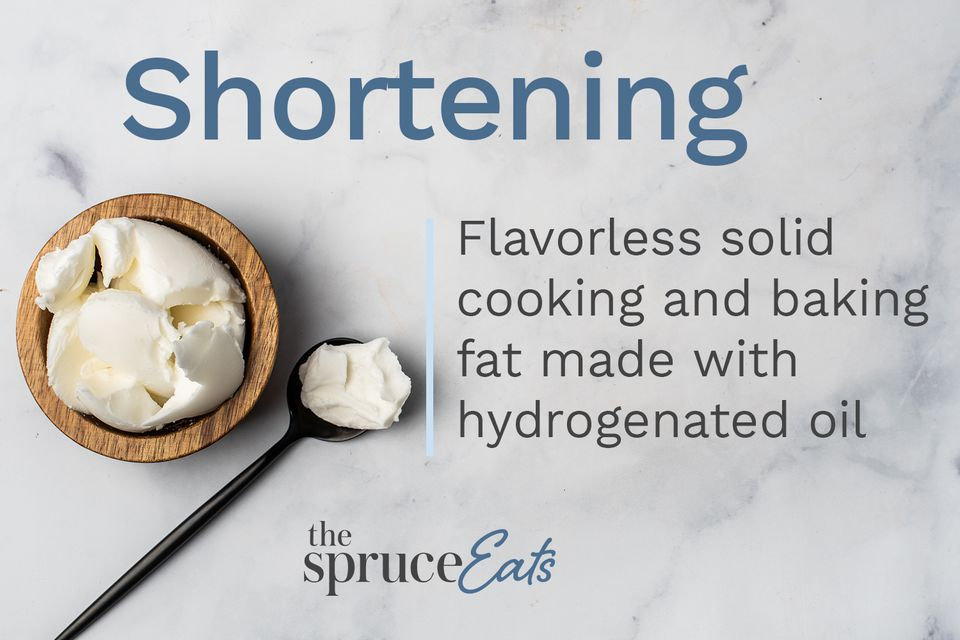 A bowl and spoonful of shortening with a description