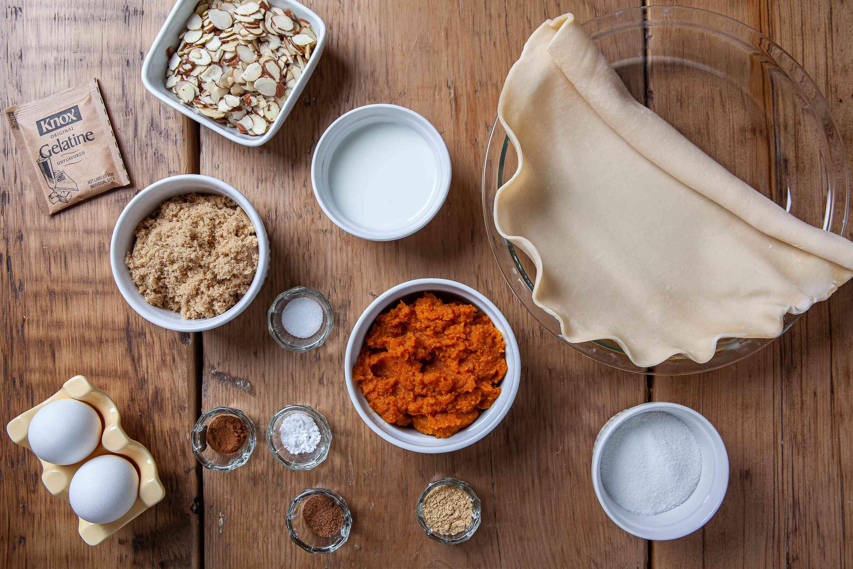 Gather the ingredients for pumpkin chiffon pie.