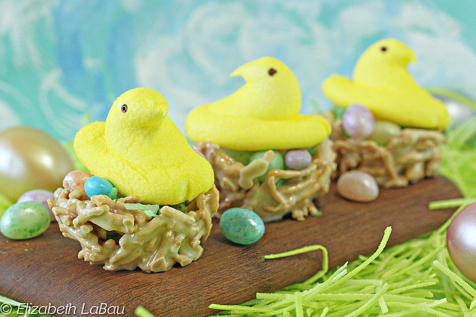 Easter Bird's Nests With Peeps Candy