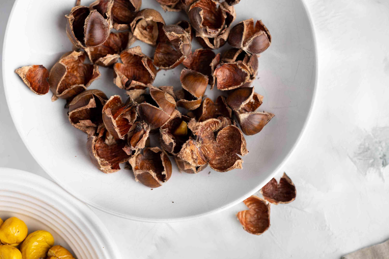 chestnut shells in a bowl