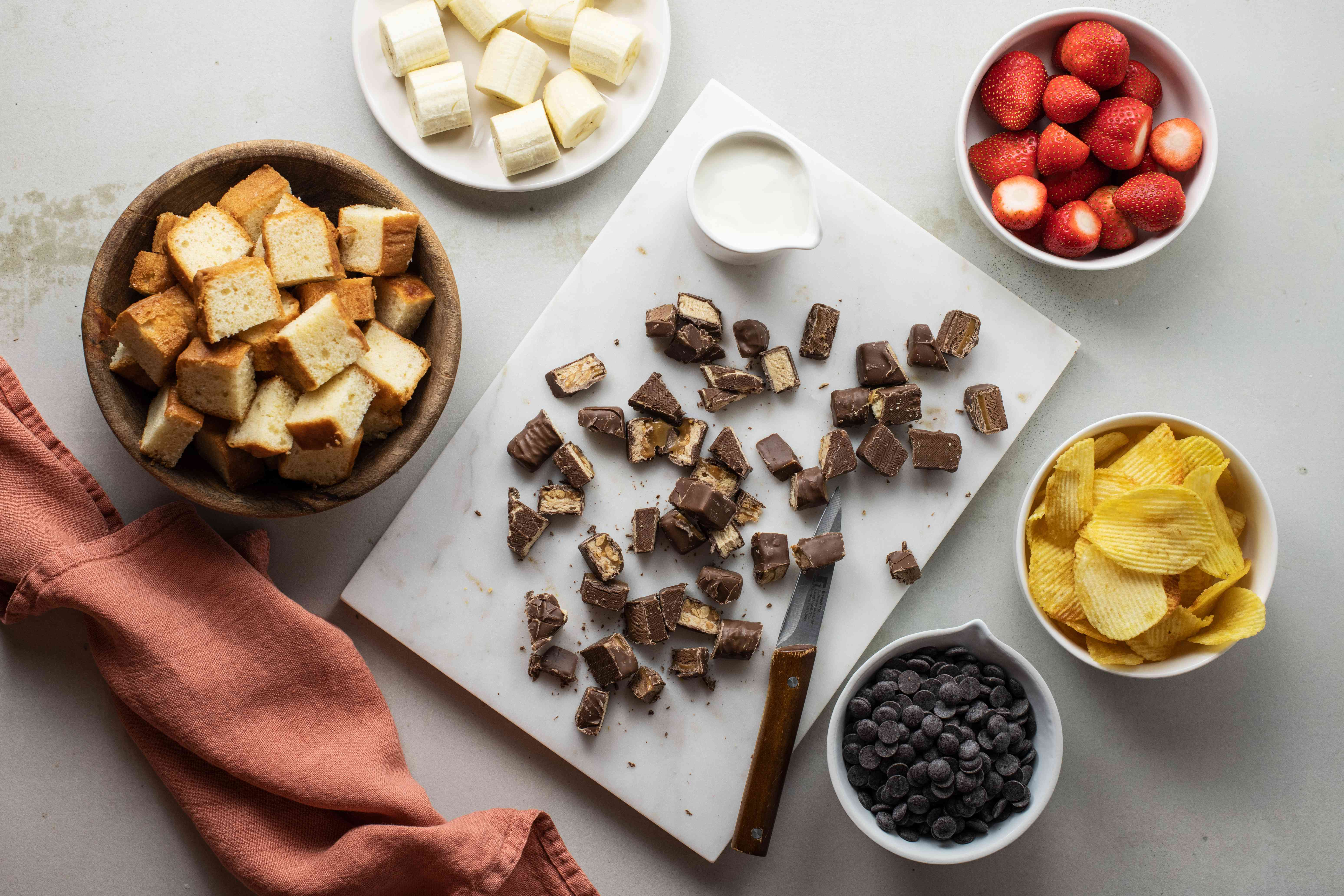 Ingredients for Halloween candy fondue