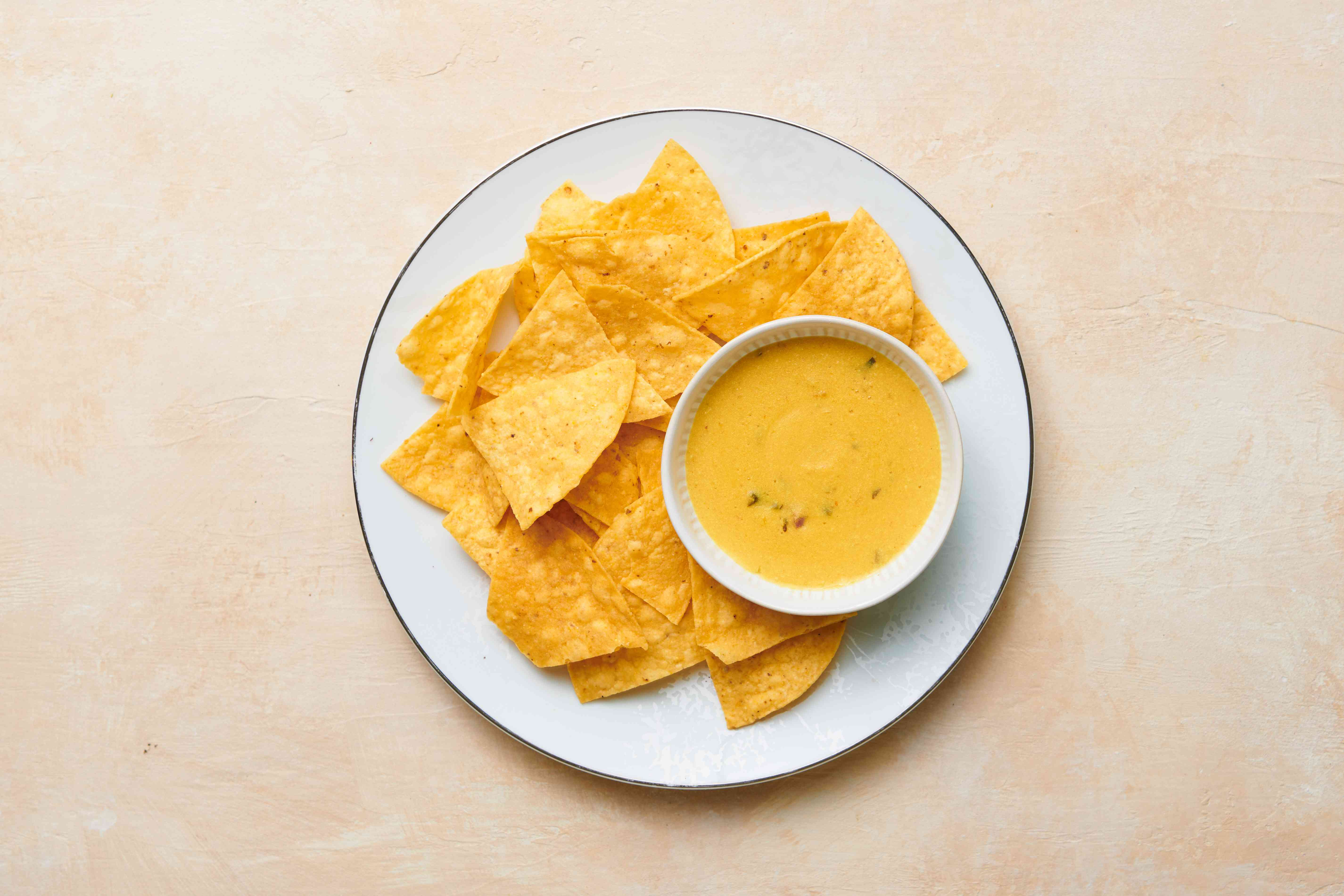 Dairy-Free Queso Dip served with chips
