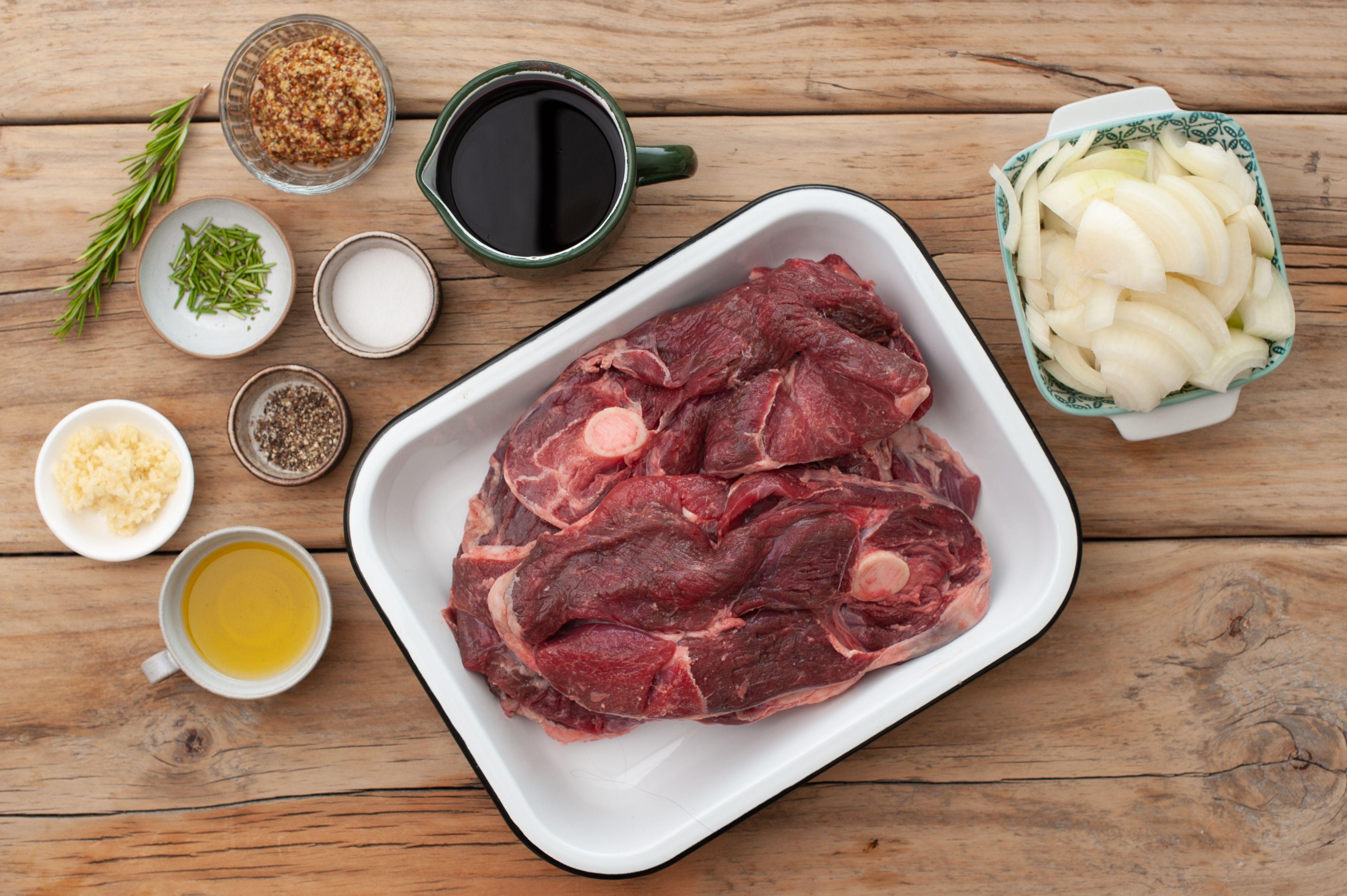 Ingredients for braised lamb shoulder chops