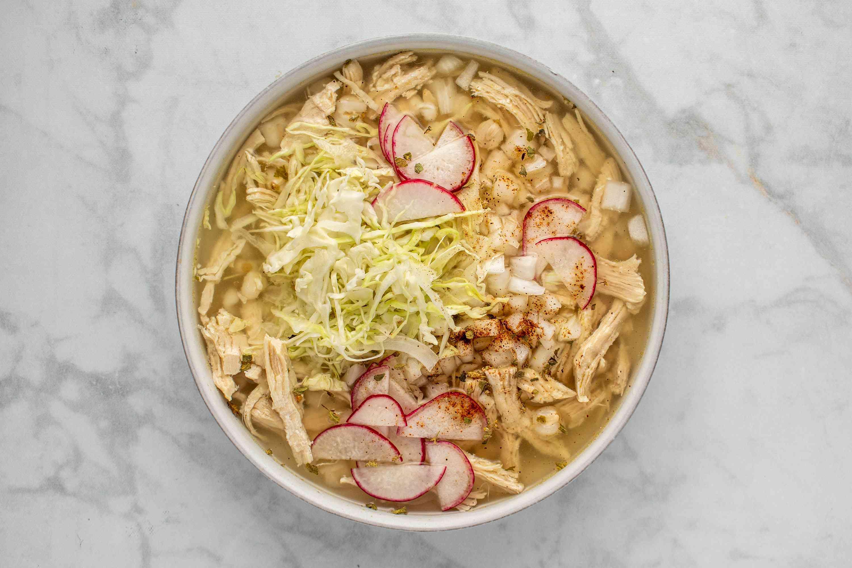 Pozole de Pollo: Chicken Pozole in a bowl
