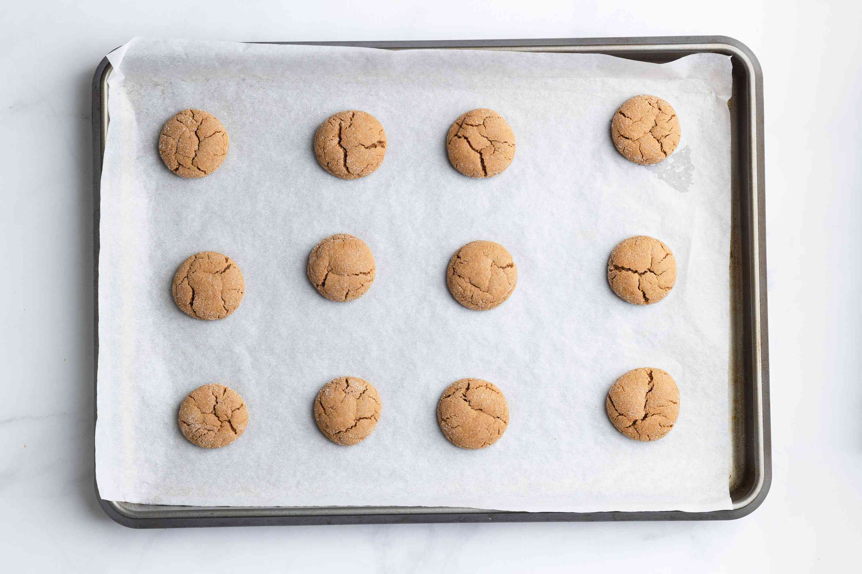 Gluten-Free Gingersnap Cookies on a baking sheet