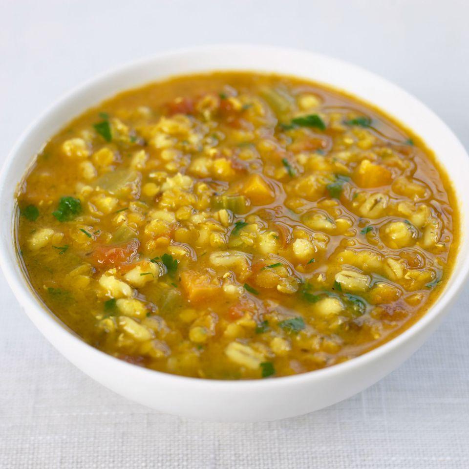 Bowl of lentil soup with barley