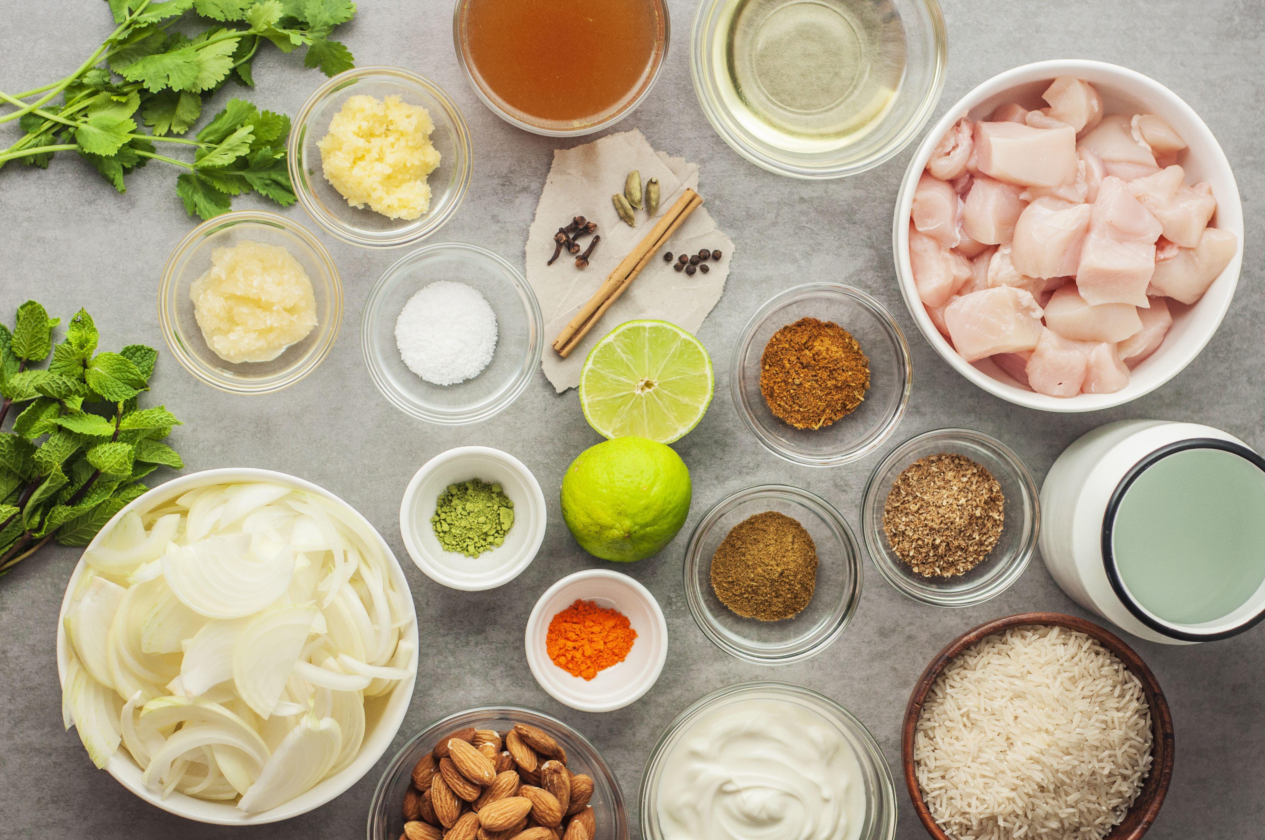 Mighlai biryani ingredients.
