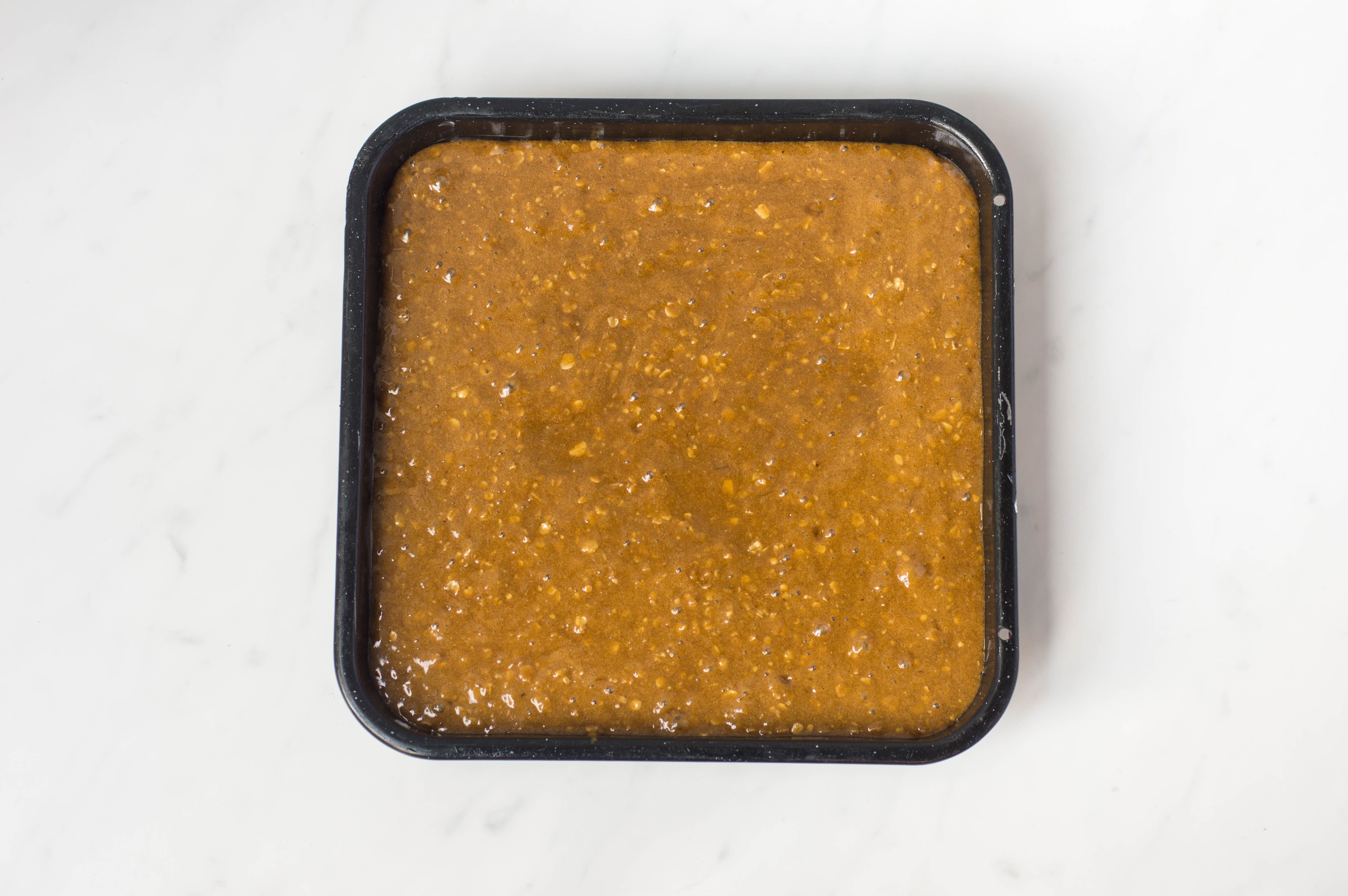 Batter poured into prepared pan