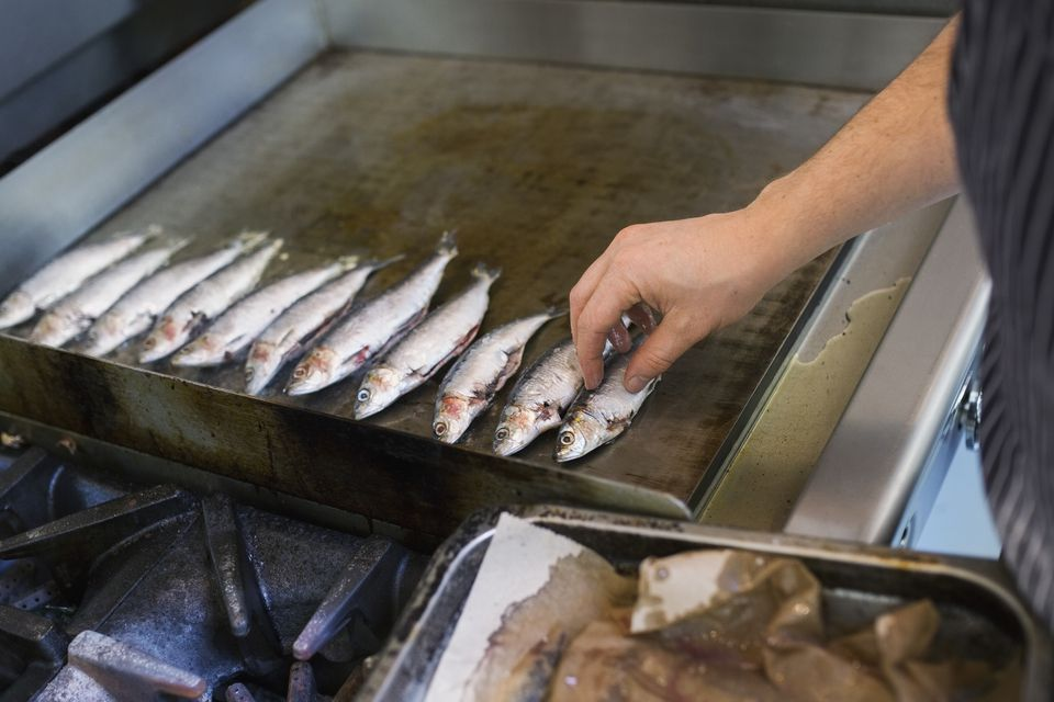 Chef placing small fish on flat top stove