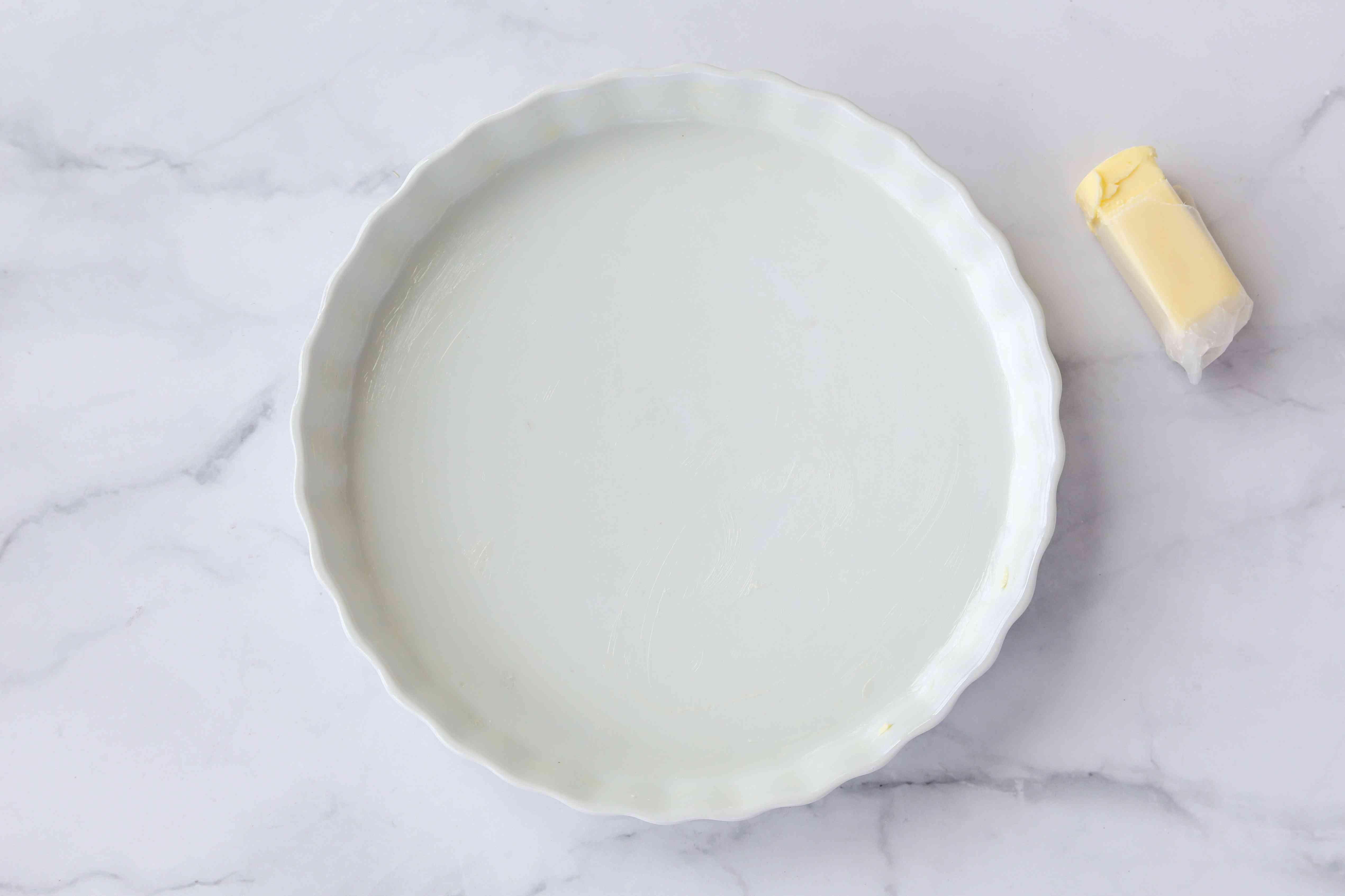 Greased baking dish