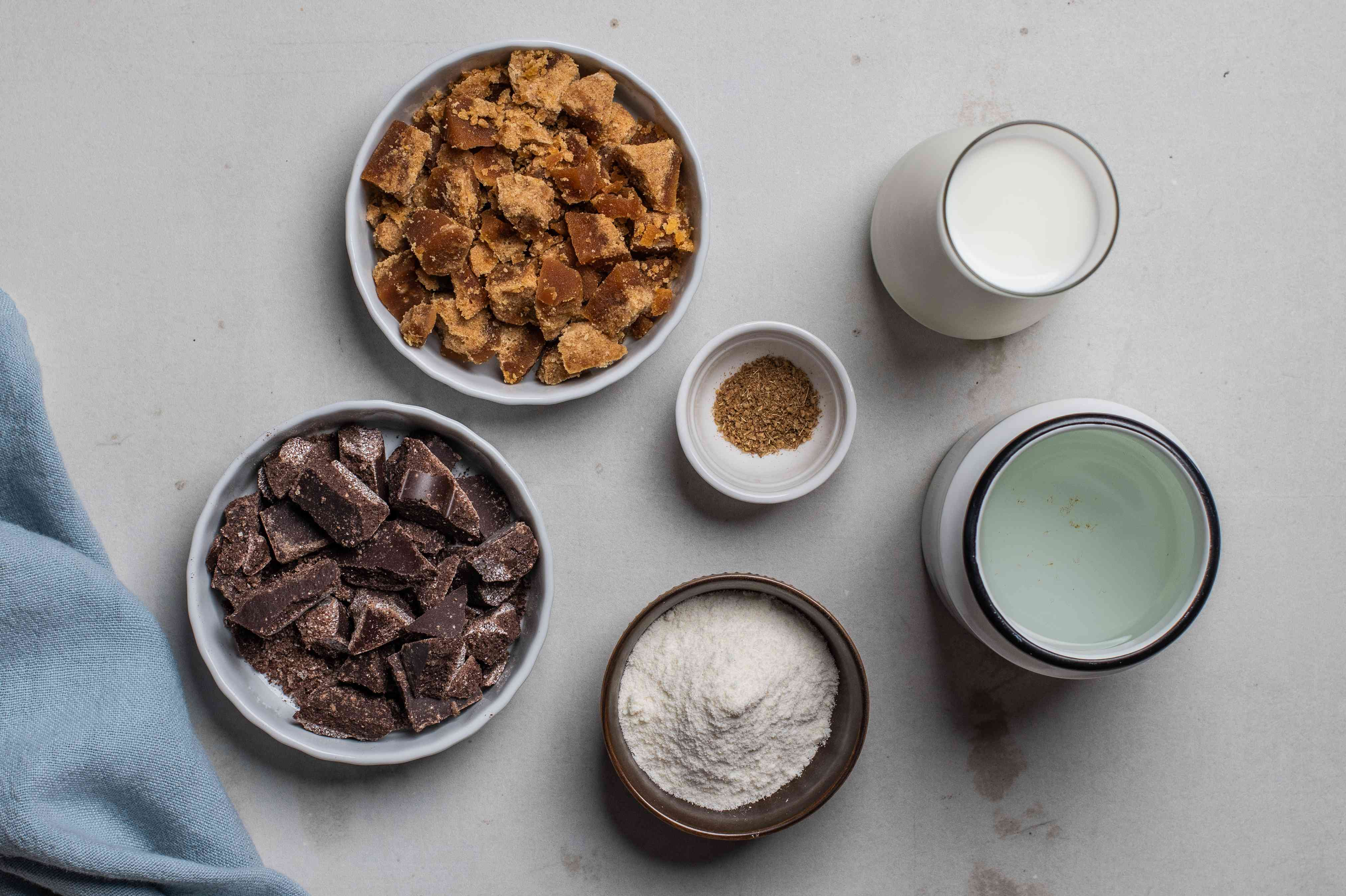 Ingredients for champurrado chocolate drink
