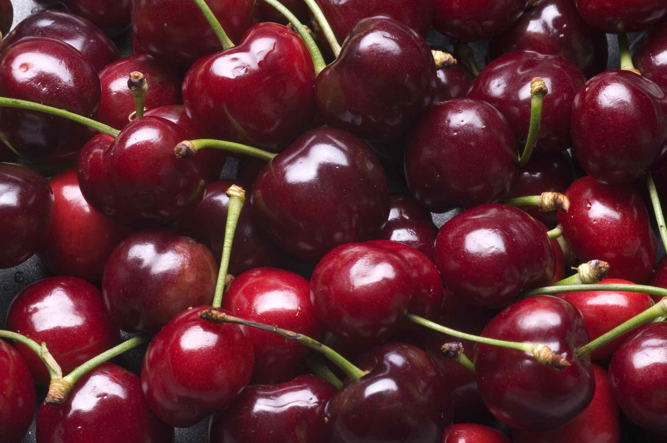 Fresh Bing cherries at market