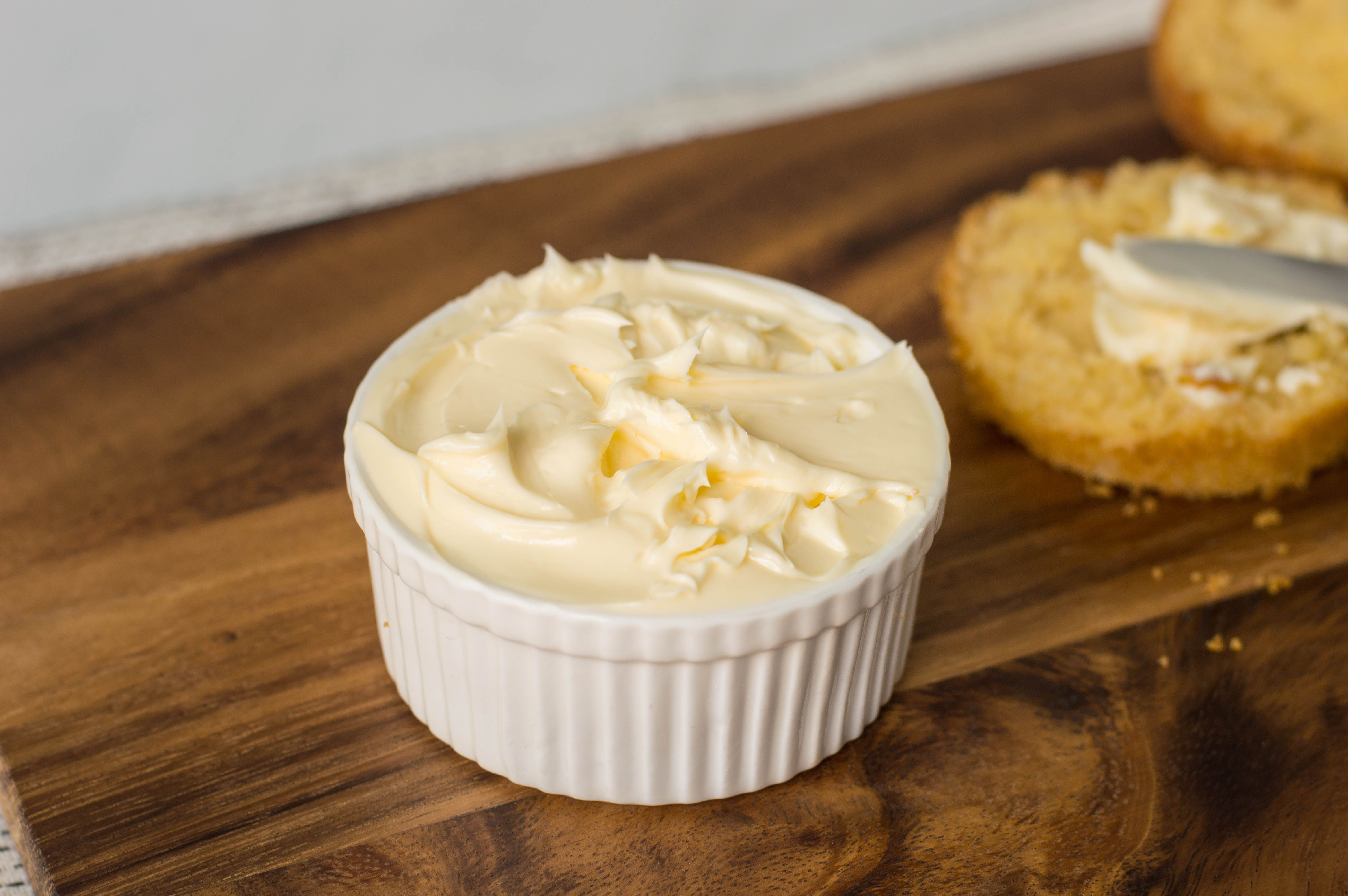 Homemade whipped butter in a ramekin