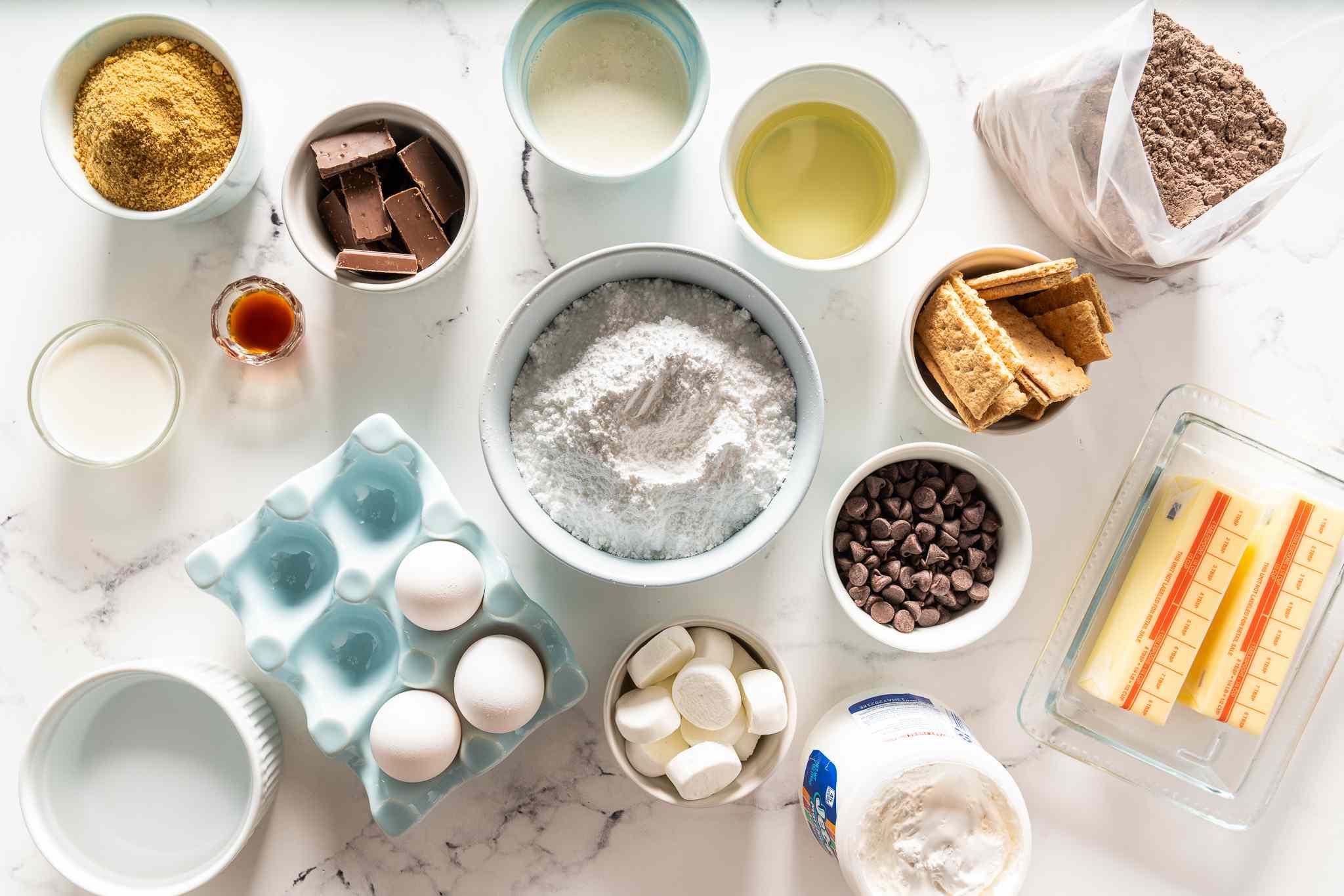 S'mores Cake ingredients