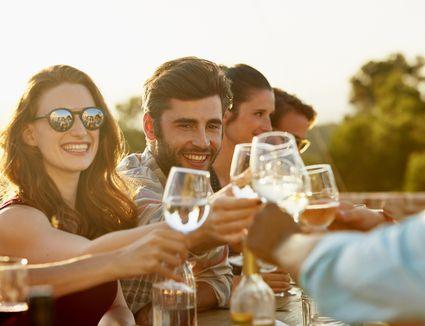 Friends clinking wine glasses outside