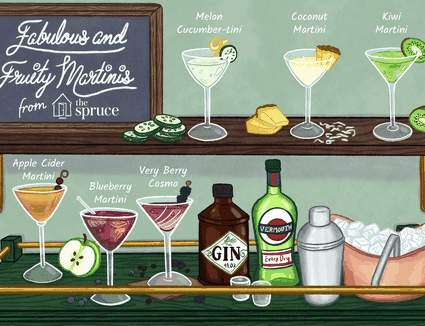 illustration showing different martinis