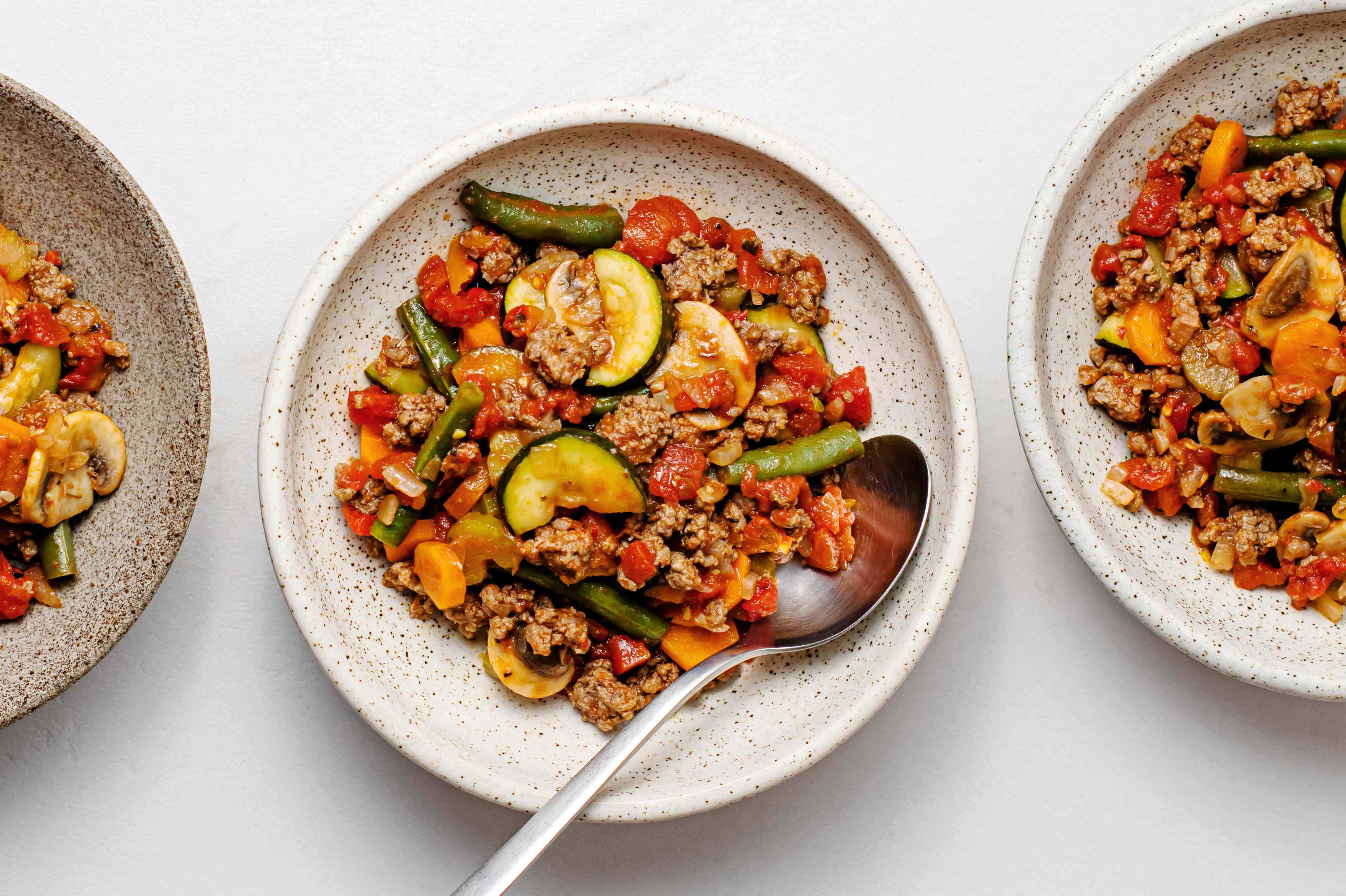 Low-Fat Skillet Ground Beef and Vegetables on a plate