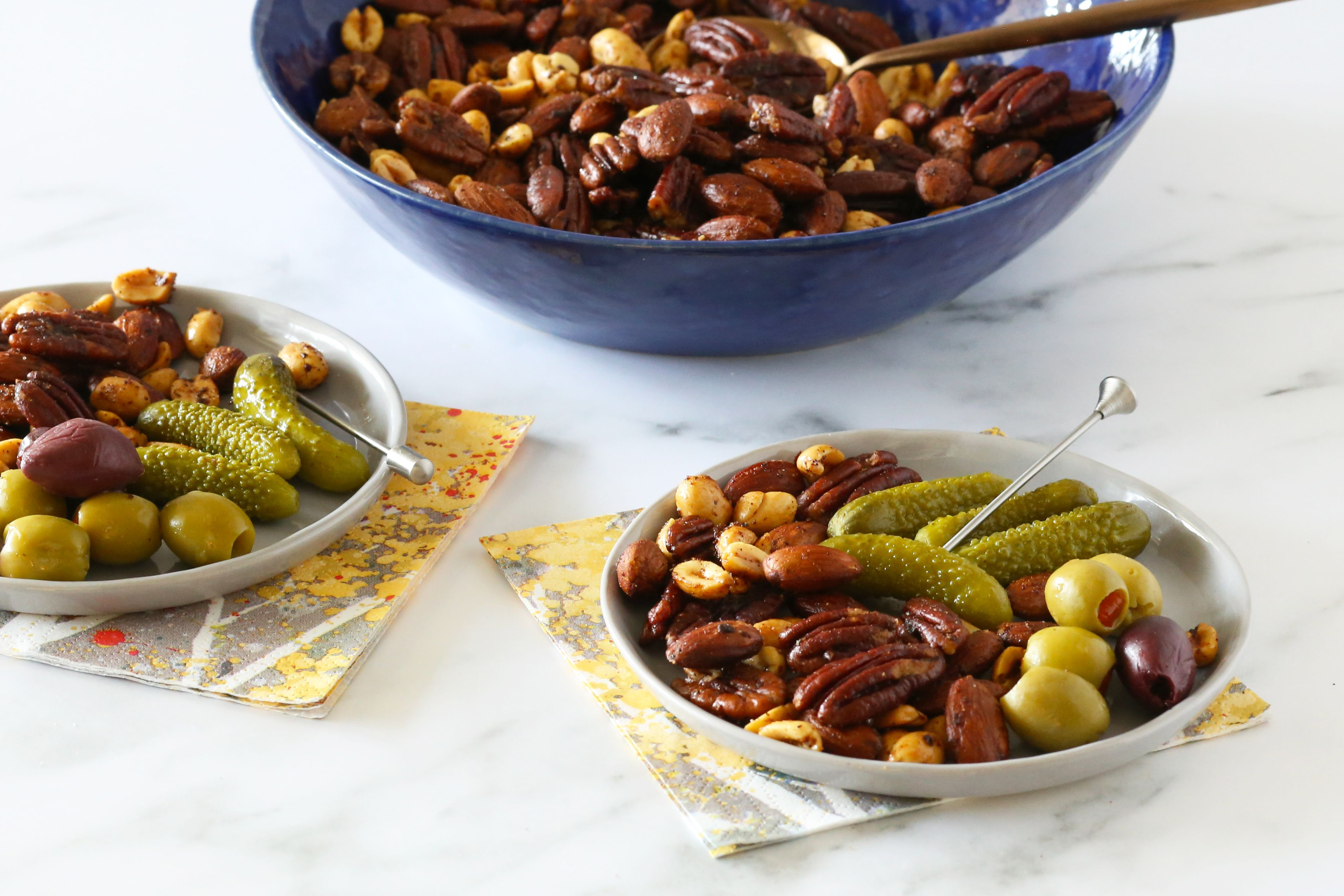 Mixed nuts with other finger foods.