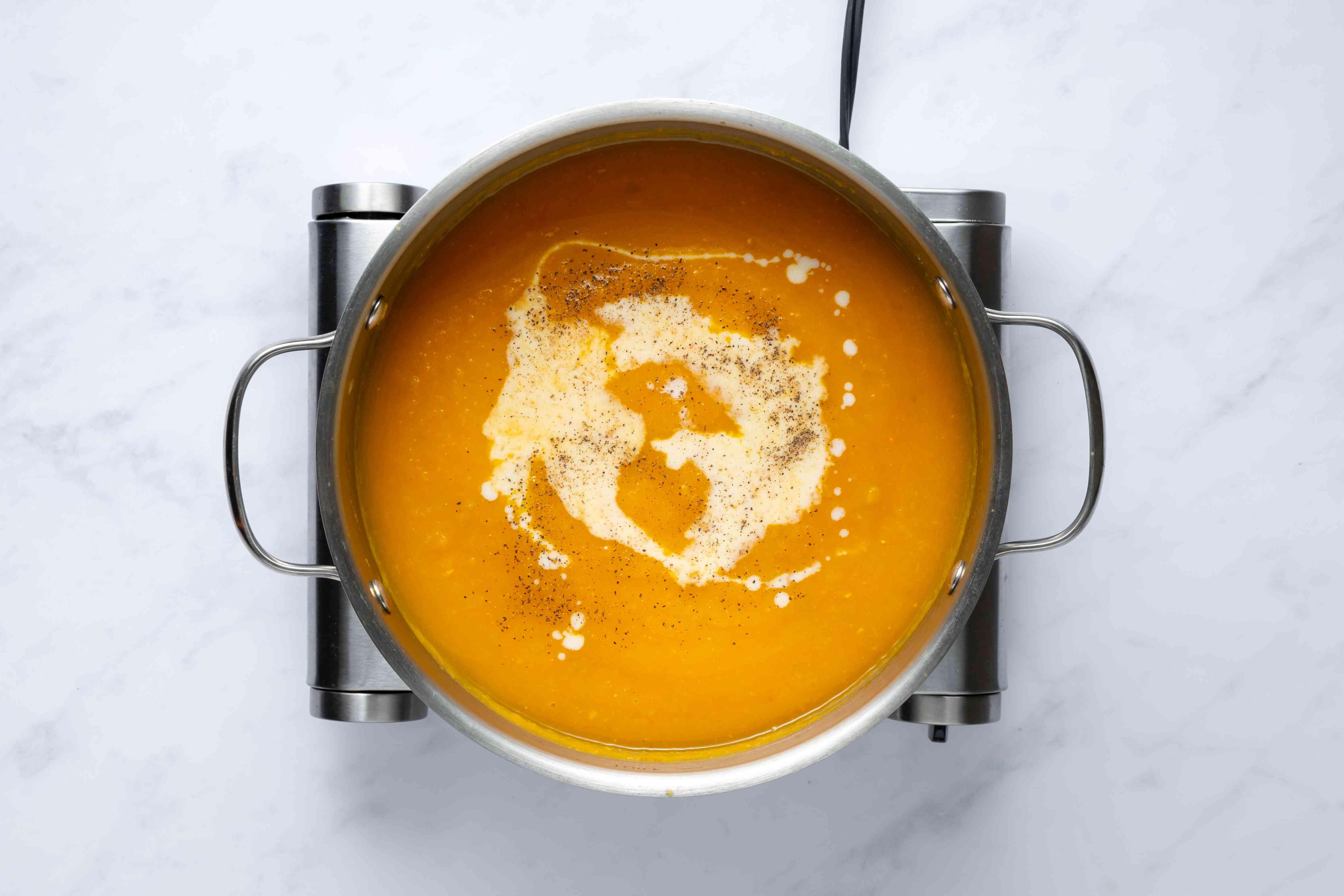 Dairy-Free Vegan Butternut Squash Soup in a pot