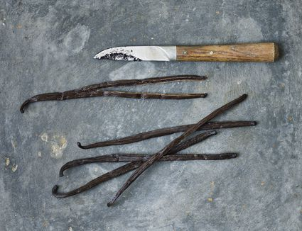 vanilla beans with knife on gray surface