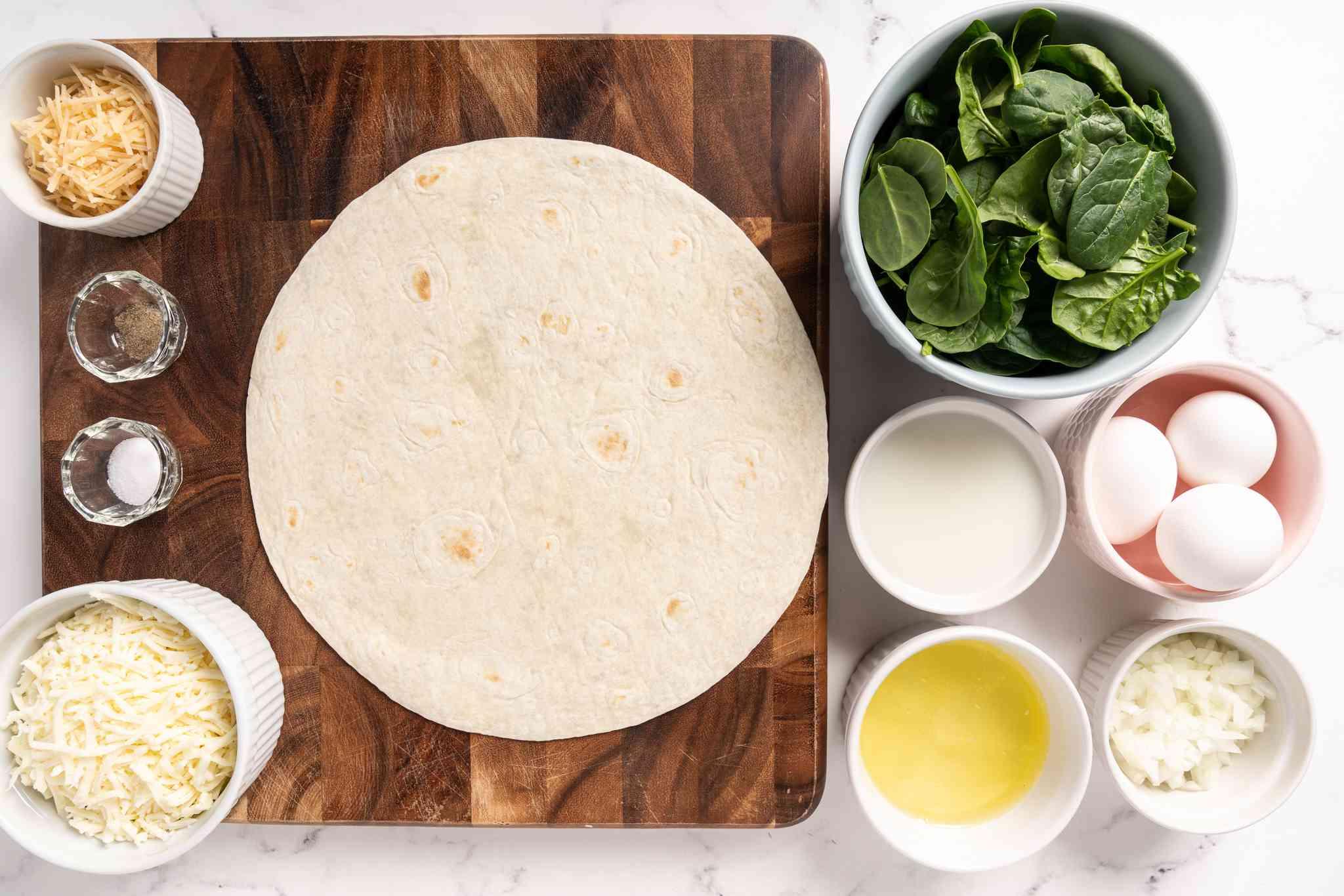 Ingredients to make spinach quiche
