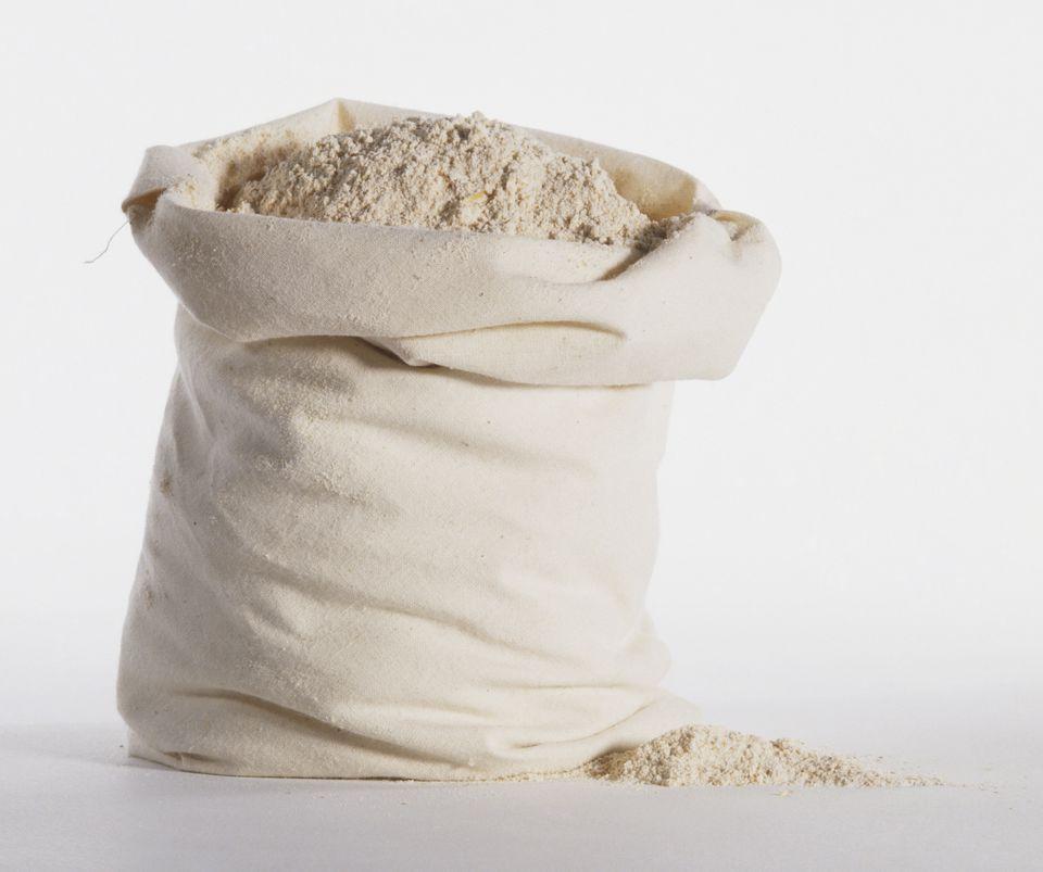 White sack of flour.