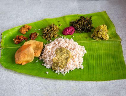 Kerala meal on banana leaf.