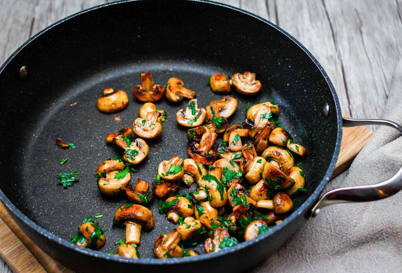 Sprinkle the mushrooms with salt