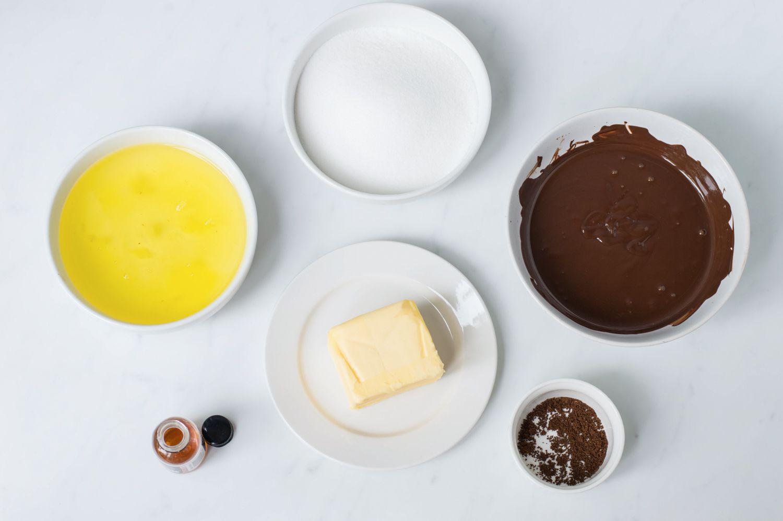Ingredients for yule log cake portion