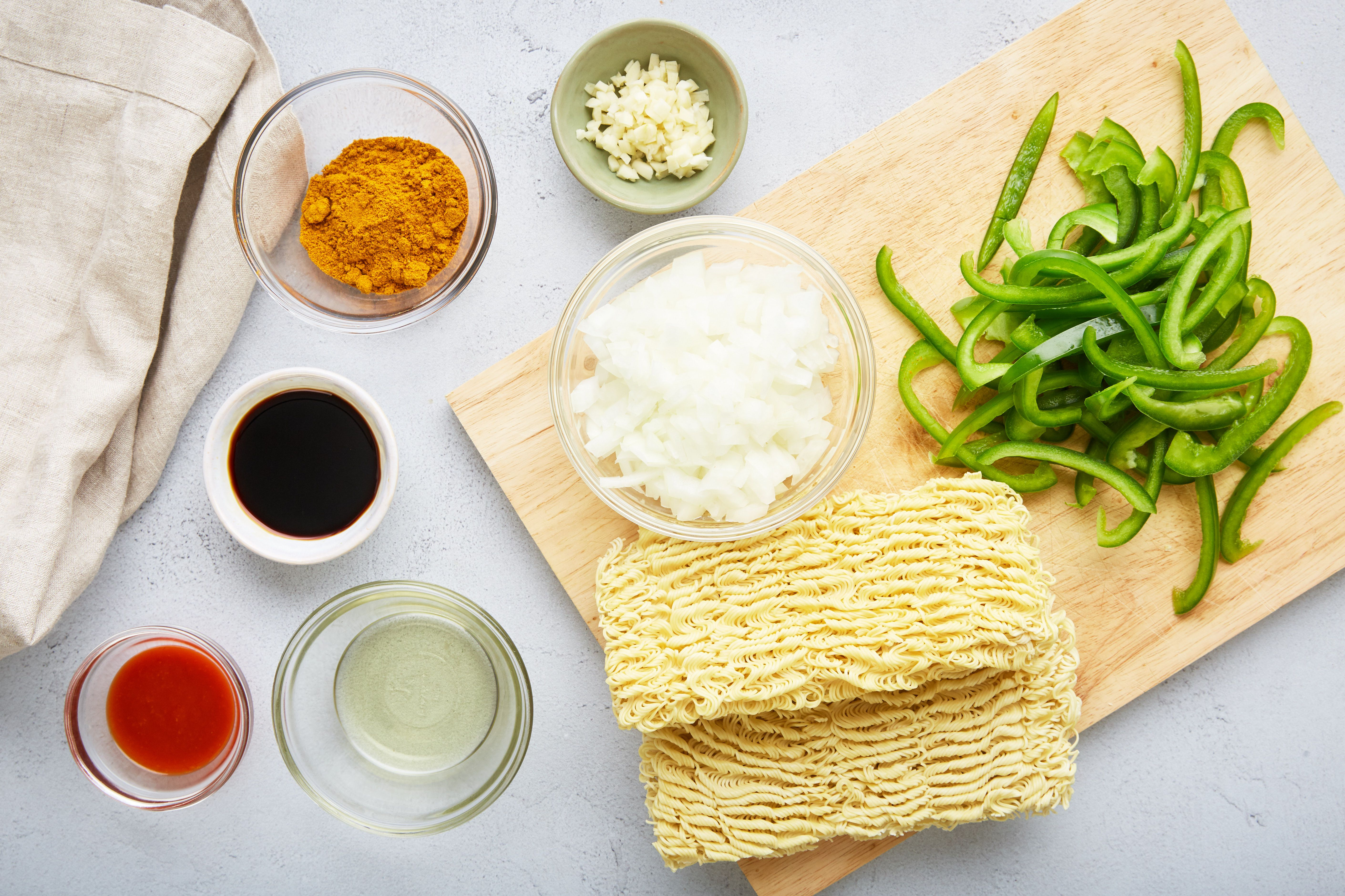 Ingredients for easy Singapore noodles