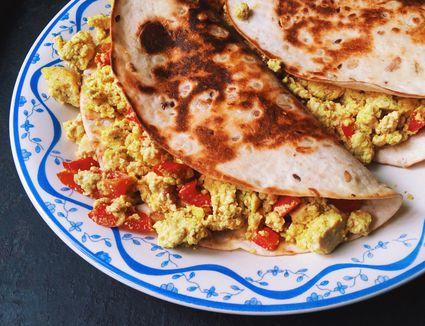 Scrambled Egg And Tofu In Tortilla