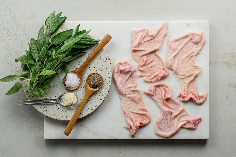 Ingredients to chicken skin chips