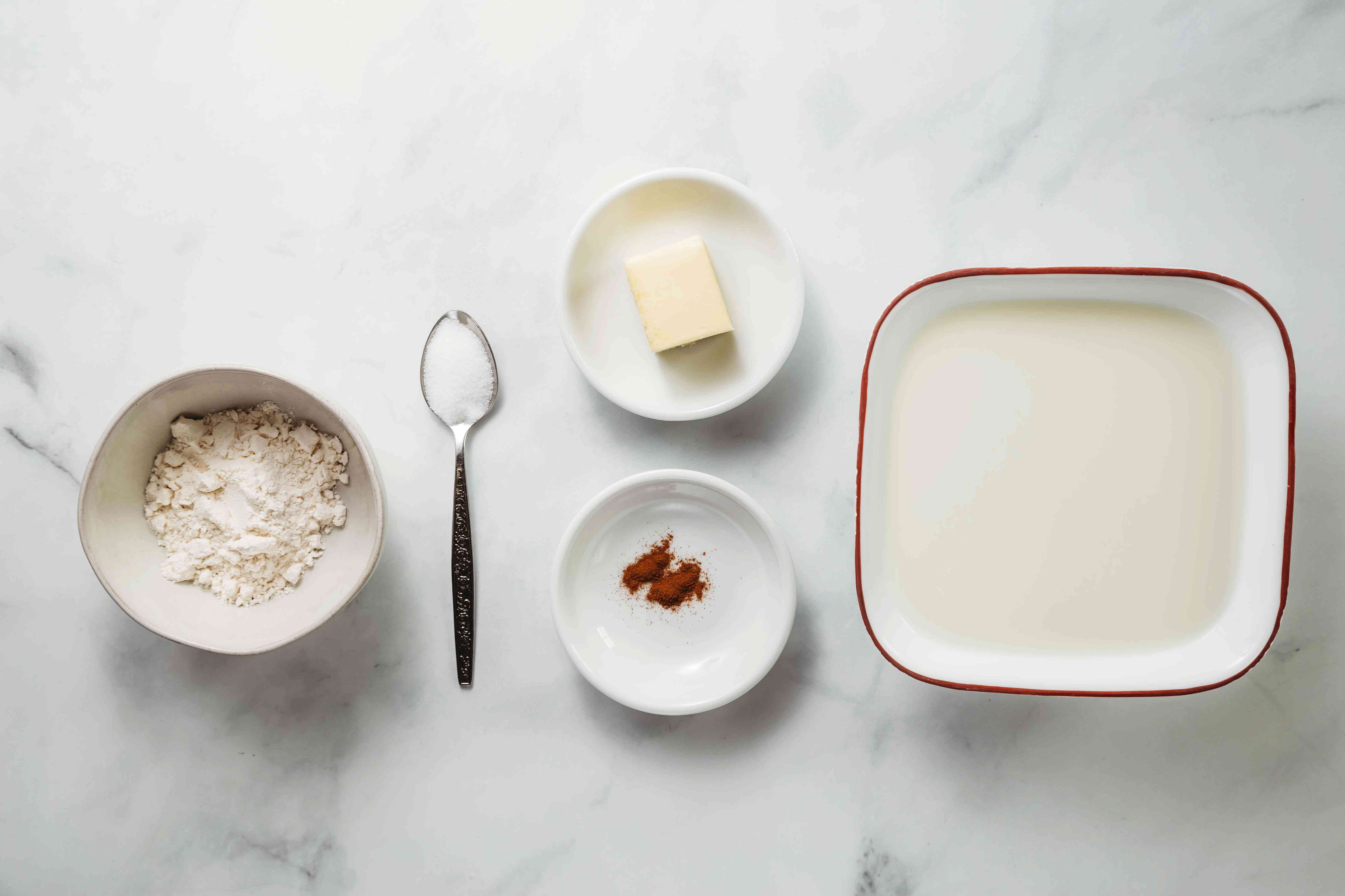 Ingredients for making the béchamel sauce