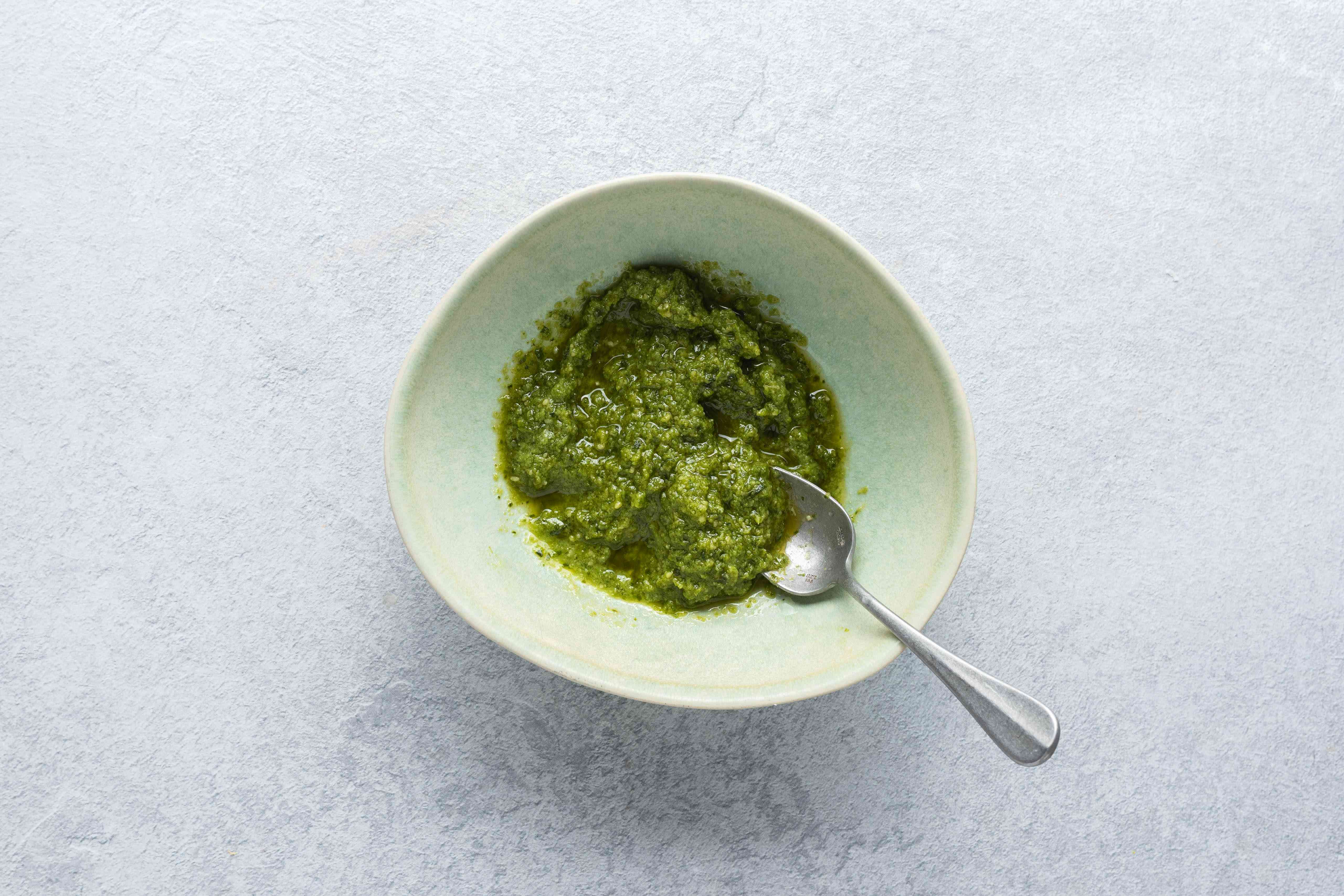 pesto with lemon juice in a bowl