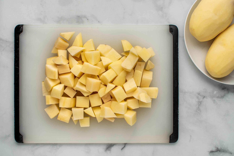chopped potatoes on a cutting board