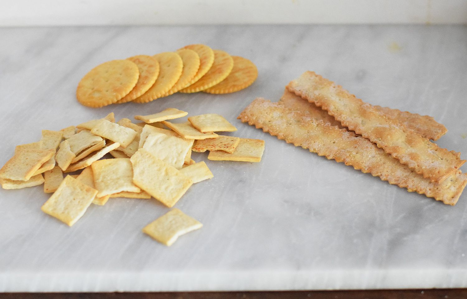 Various crackers and breadsticks