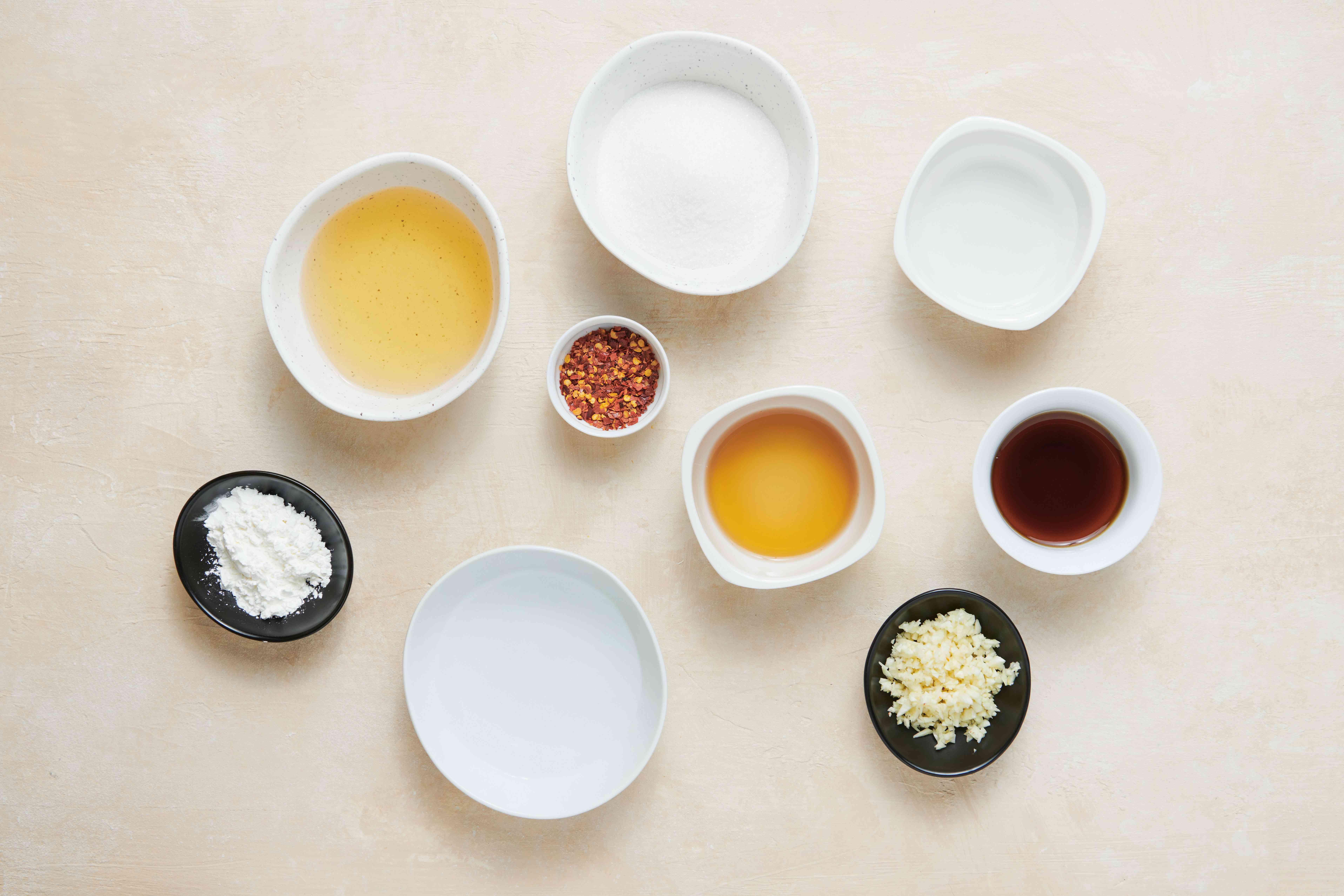 Ingredients for making Thai sweet chili sauce