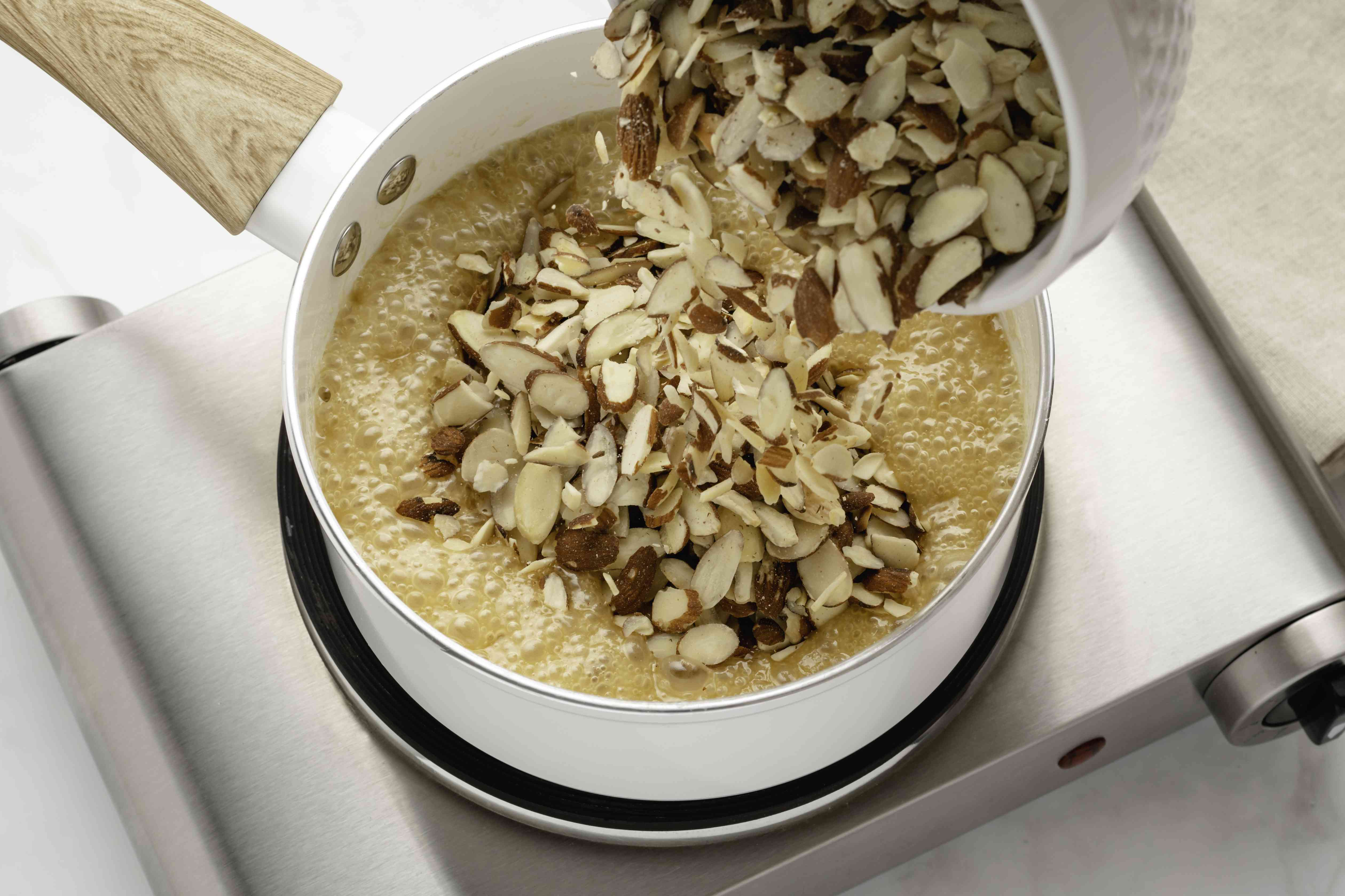 Almonds added to the butter and honey mixture