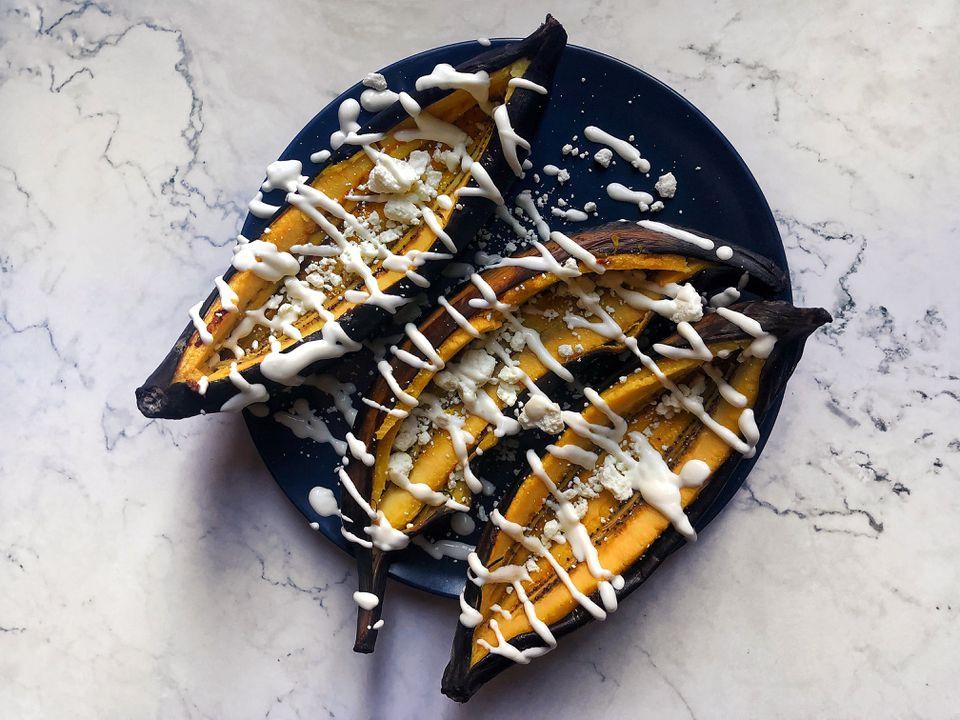 Plátanos Horneados con Queso y Crema recipe