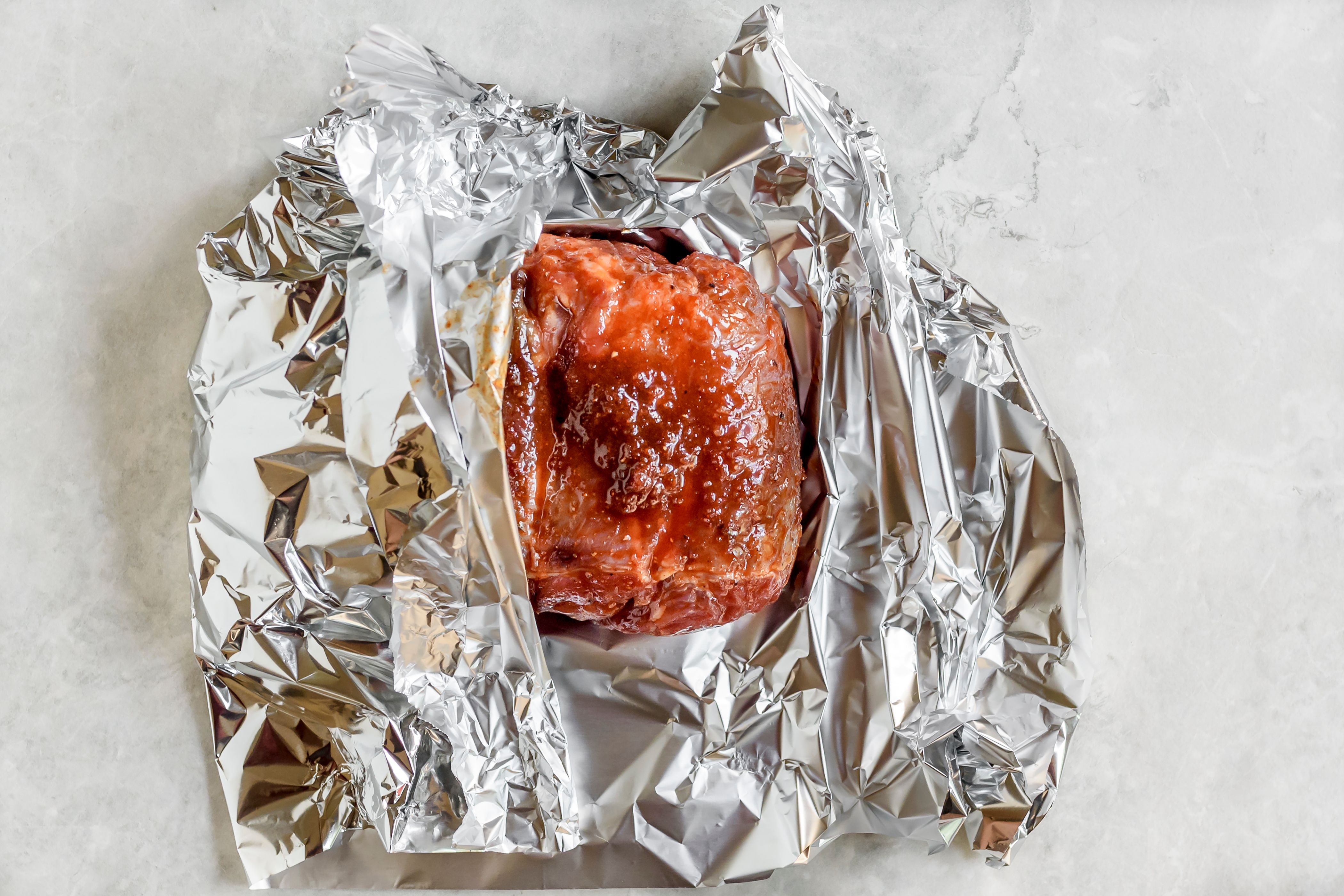 wrap meat in tin foil