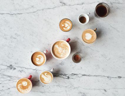 variety of coffee drinks