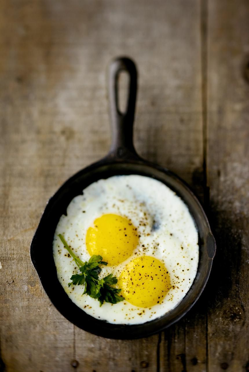 Eggs in a cast iron skillet