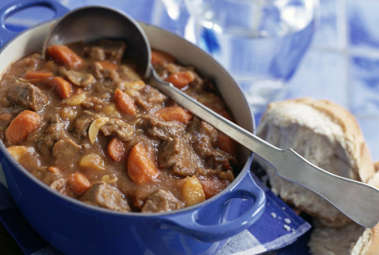 A pot of beef & Guinness stew