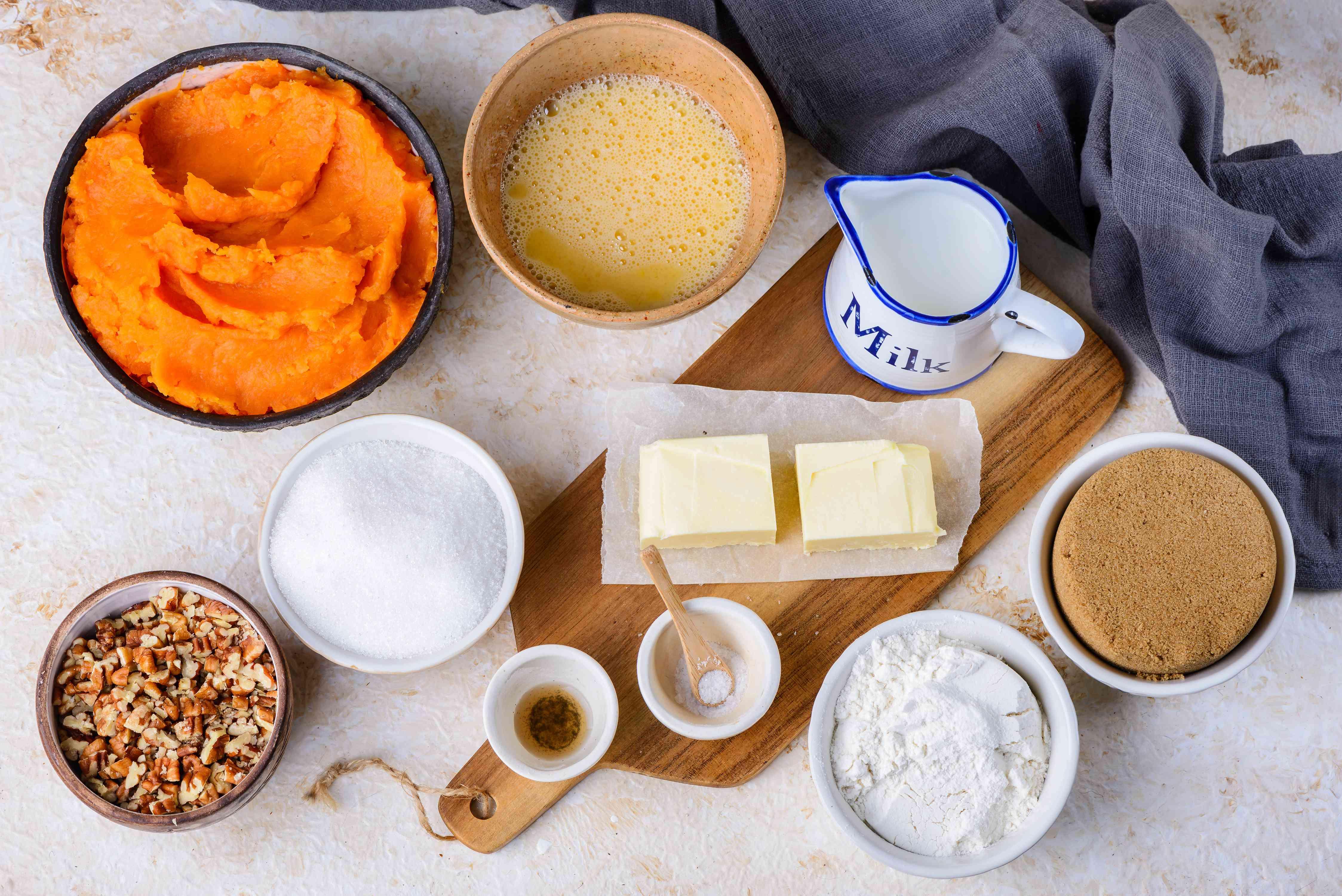 Ingredients for crunchy sweet potato casserole